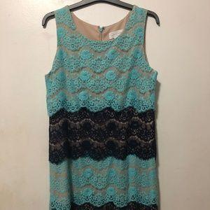 Jessica Simpson Lace Teal/Black Dress